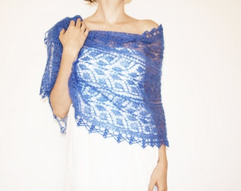 Something Blue Wedding Shawl, Gift For Bride Shawl, Lace Bridal Cover Up, Knit Lace Shawl Coverup, Sapphire Blue Evening Shawl, MORE COLORS