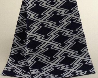 Long, Pure, Cotton, Scarf, Blue, Indigo, and White, Geometric