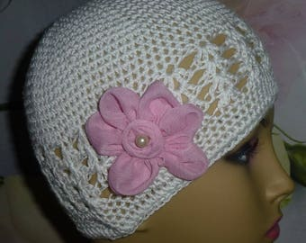 Chemo Hat Crocheted with Pink Flowers,Knit Hat, Girls Crochet White Hat