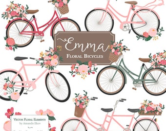 Emma Floral Bicycle Clipart Vectors In Rose Garden