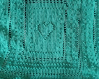 Gorgeous afghan. Teal one heart