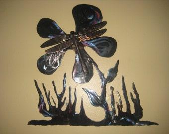 Utensil welded dragonfly on a flower metal wall art
