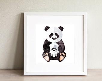 Panda and baby print / Panda wall art illustration / Boy's or girl's room wall art / Panda decor Panda snuggle print / panda nursery poster