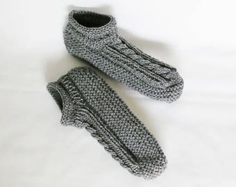 MADE to ORDER Mens Slippers Knitted Low Cuff, Choice of Color, Sizes