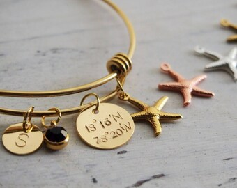 Personalized Wedding Bracelet, Starfish Charm Small Starfish Jewelry, Personalized Bridesmaid Gift, starfish charm, Personalized for her