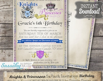 Knights and Princesses Invitation - INSTANT DOWNLOAD -  Editable & Printable Medieval Birthday Party Invite by Sassaby Parties