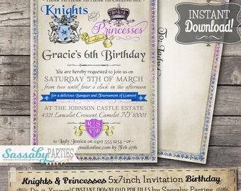 Knights invitation etsy knights and princesses invitation instant download editable printable medieval birthday party invite by sassaby parties stopboris Images