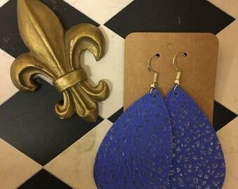 Blue Pebbled Leather Teardrop Earrings