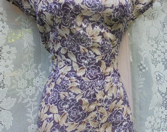 Blue floral dress  iconic 1940s  vintage summer frock cotton  40s small  from vintage opulence on Etsy