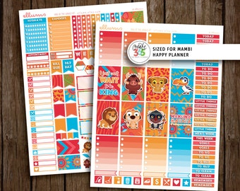 HP King of the Jungle Kit   PRINTABLE pdf jpg   Disney™ Lion King Inspired Planner Stickers   fits Mambi Happy Planner   Simba Mufasa