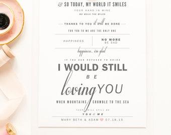 "Led Zeppelin  ""Thank You"" - Grey & Blush - Valentine's, Wedding Gift, Paper Anniversary Gift, Song Lyrics, Art Print"
