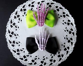 Pastel Goth Skeleton Hand Hair Bows