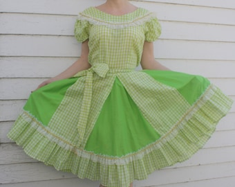 Green Country Dress Gingham Print Square Dance Rockabilly Vintage S