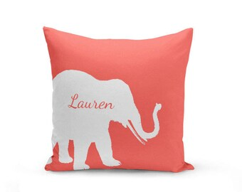 Personalized Elephant Throw Pillow Cover Elephant Decor Elephant Pillow Cover  Decorative Pillow Cover