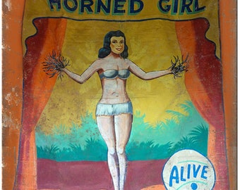 "Booptee Horned Girl ALIVE Circus Carnival 10"" X 7"" Reproduction Metal Sign ZH73"