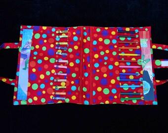 Red Spot 'Wick' Art Caddy, fabric art caddy, Handmade art caddy, pencils, colouring