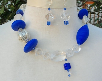 GORGEOUS Blue Murano Glass Necklace, Origami Thai Silver Beads, Quartz Crystal, Asymmetrical Investment Necklace Set by SandraDesigns