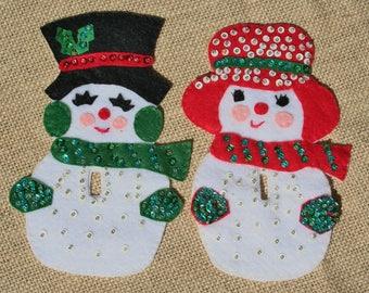 Vintage Felt Christmas Switch Covers, Mr. Mrs. Snowman, Snowwoman, Sequined, 1960s