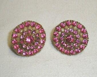 Vintage 1940s CORO Signed Pink Rose Rhinestone Gold Tone Screw Back Earrings