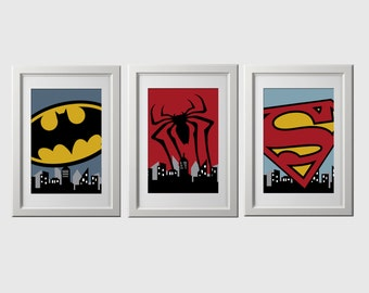 superhero wall art prints, PRINTED super hero wall art prints, super hero, superhero bedroom decor, 8x10 inch high quality, shipped to you