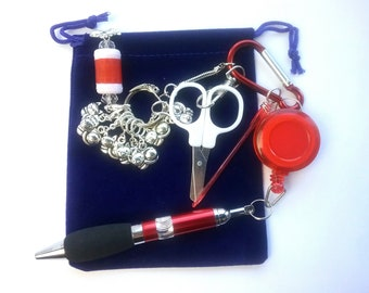 Crafter's Tool Kit - cat stitch markers, crochet hook, row counter, folding scissors, progress keepers, pen on retractable cord