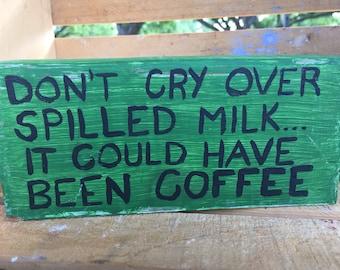 Spilled Coffee Decorative Wood Block