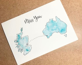 Miss you card, long distance love, long distance card, missing you, long distance relationship