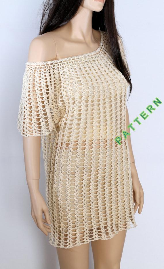 Tunic Pattern Crochet Top Pattern Shirt Cover Up Crochet Pattern