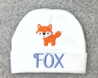 Personalized baby hat with fox - preemie hat baby boy hat baby girl hat NICU clothes fox baby shower gift newborn pictures going home outfit