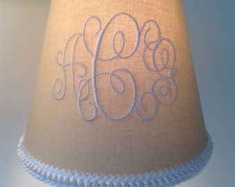 Ruffle lampshade etsy louisa monogrammed lamp shade neutral beigetan and white ruffle trim mozeypictures Images
