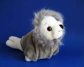 Vintage Arctic Seal Stuffed Animal by Dakin 1980s Toy Plush Harbor Seal Harp Seal Hoodie Jacket