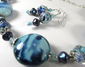 Blue Teal Aqua Turquoise Lampwork Glass and Pearl Adjustable Necklace and Earring Set on Silver