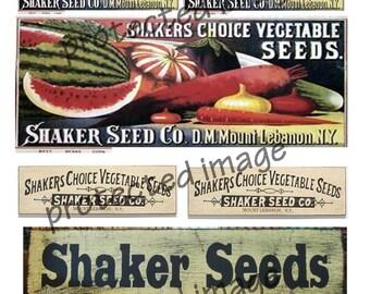 Vintage Shaker Seed  Labels   * Instant Download   #510