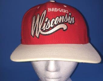 Vintage Wisconsin Badgers snapback hat adjustable 1990s