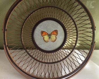 Vintage Pressed Butterfly Basket, Vintage Basket, Vintage Handle Basket