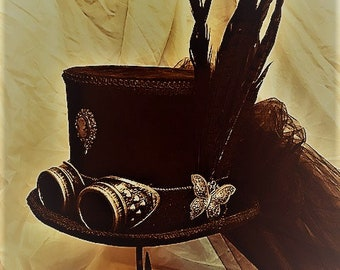 Midnight Blue and Black Steampunk Top Hat