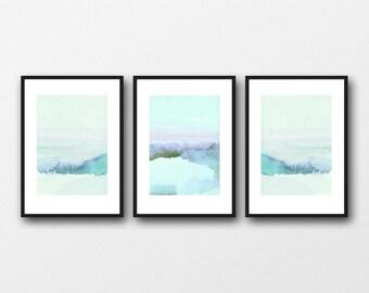 Watercolor art prints,  Watercolor landscape paintings blue landscape set of 3 watercolor paintings, giclee prints  the blue hour