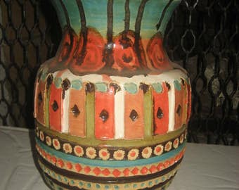 Large Heavy Colorful Ornate Handmade One of A Kind Ceramic High Fire Vase/Pot