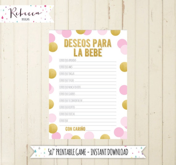 Baby Shower Game In Spanish Wishes For Baby Deseos Para La