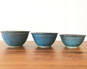 Nesting Bowl set- 3 bowls-Twilight blue Glaze