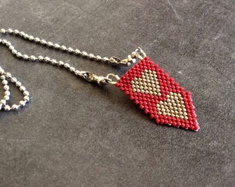 Long necklace #604 stainless steel woven heart pendant with chain.