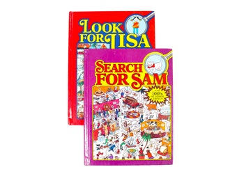 Look For Lisa and Search for Sam Hardcover Book Set for Children . 1989 Find It Books . Kitty Cat Kitten Girl I Spy Waldo