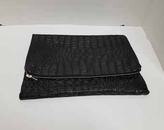 Vegan leather fold over clutch