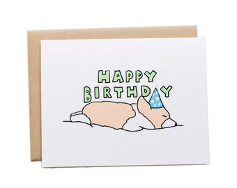 Happy Birthday Sleeping Corgi Card, Corgi Birthday Card, Dog Birthday Card, Sleeping Corgi Card, Cute Birthday Card