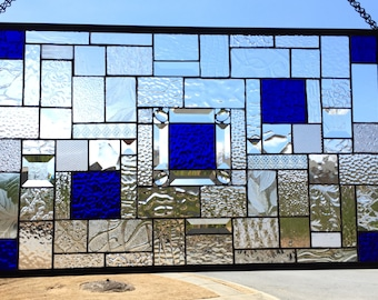 Dynamic Cobalt Blue  Stained Glass Panel with Bevels and Jewels