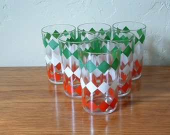 Vintage Juice Glasses Set Of 6 Mid Century , Red, Green, White, Diamond Hazel Atlas, Retro Geometric Drinking Glasses