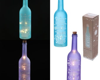 LED frosted wine bottle with Wish Upon a Star slogans Design..Great gift or for the home