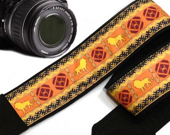 Lions Camera Strap. Ethnic Camera Strap, African Camera Strap. Mens Gift. Accessories