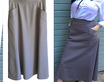 Grey 60s Wool Skirt Pockets womens vintage pencil high waisted fully lined by Harve Benard size 8 gorgeous office business casual mad men