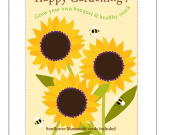 Kids gardening card Grow your own healthy snack seed kit gardening greeting card with Sunflower seeds Mammoth